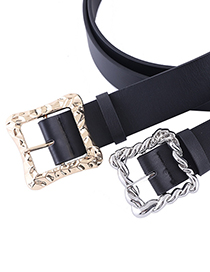 Fashion Square Silver Color Black Alloy Geometric Square Buckle Wide Belt