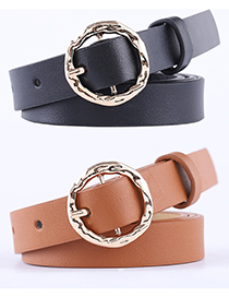 Fashion Camel Alloy Dress Belt With Japanese Buckle