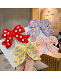 Fashion Red Knitted Bow Polka Dot Children Hairpin