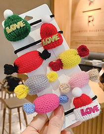 Fashion Yellow Candy Hairpin Knitted Woolen Hat Letter Children S Hair Rope Hairpin