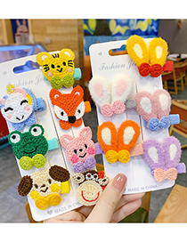 Fashion Yellow Bunny Ears Knitted Animal Rabbit Ears Hit Color Children Hairpin