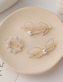 Fashion Flowers Pearl Bow Flower Ring Hairpin
