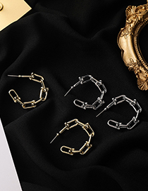 Fashion Gold Color Chain Geometric Alloy Earrings