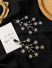 Fashion Gold Color Diamond-studded Five-pointed Star Branch Alloy Hairpin