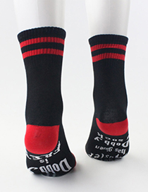 Fashion Short Black And White Striped Socks With Letter Socks