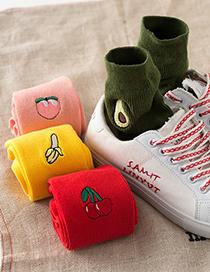 Fashion Grape Fruit In Tube Sports Piled Socks