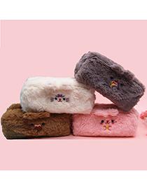 Fashion Pink Large Capacity Plush Embroidery Bear Ear Stationery Bag