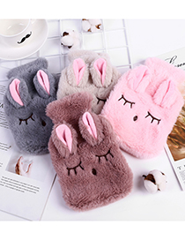 Fashion Gray Plush Squinted Rabbit Removable And Washable Hot Water Bottle