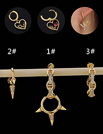 Fashion 3#gold Color Copper Inlaid Zircon Geometric Earrings (1pcs)