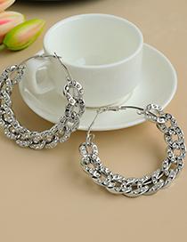 Silver Alloy Resin Diamond Chain Circle Earrings