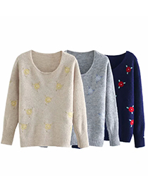 Fashion Navy Crocheted Round Neck Pullover Knitted Sweater