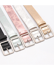 Fashion Light Green Alloy Japanese Pin Buckle Pu Face Belt
