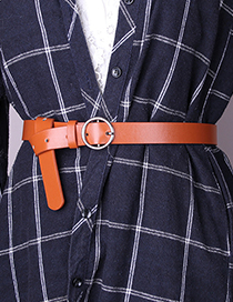 Fashion Camel Round Buckle Faux Leather Jeans Belt
