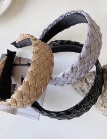 Fashion Shallow Khaki Faux Leather Woven Openwork Broad-side Headband