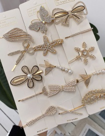 Fashion Silver Feather Alloy Butterfly Flower Feather Pearl Geometric Hairpin Set