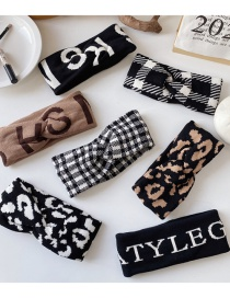 Fashion Black And White Knitted Woolen Letter Crossed Broad-sided Houndstooth Leopard Headband