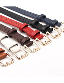 Fashion Camel Hollow Non-perforated Imitation Leather Thin Belt