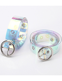 Fashion Colorful Colorful Eyelet Transparent Round Button Jeans Belt