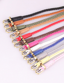 Fashion Camel Knitted Pin Buckle Thin Belt