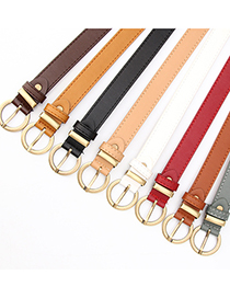 Fashion Camel Faux Leather Round Buckle Belt With Pin Buckle