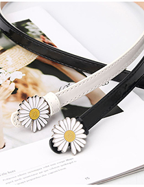 Fashion White Daisy Drip Paint Leather Belt