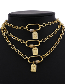 Fashion A Copper Inlaid Zircon Thick Chain Ring Pendant Letter Necklace