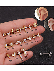 Fashion 17#gold Alloy Geometric Micro-inlaid Zircon Stainless Steel Earrings