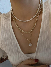 Fashion Suit Thick Chain Pearl Bead Alloy Necklace