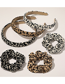 Fashion New Knitted Leopard Hair Tie-beige Leopard Print Knitted Large Bowel Hair Rope Headband