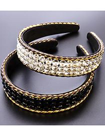Fashion Red Round Broad-brimmed Headband With Diamonds