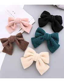 Fashion Dark Green Single-layer Bow Hairpin Imitation Mink Velvet Fabric Bow Hairpin