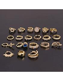 Fashion 20#gold Micro-inlaid Zircon Flowers Stainless Steel Geometric Earrings
