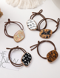 Fashion Dark Brown Acrylic Geometric Leopard Print Knotted Hair Rope