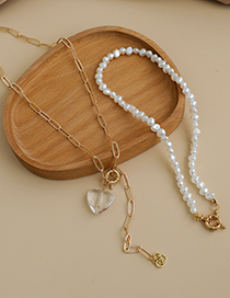 Fashion Gold Color Alloy Chain Resin Love Pearl Double Necklace