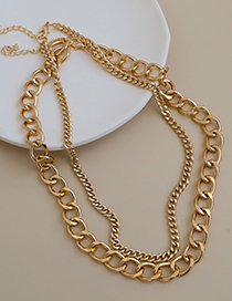 Fashion Gold Color Alloy Chain Double Necklace  Alloy