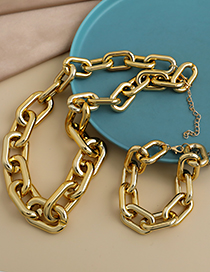 Fashion Gold Color Resin Chain Necklace