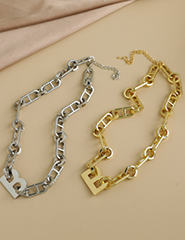 Fashion Gold Color Alloy Chain Letter Necklace  Alloy