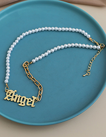 Fashion Gold Color Alloy Pearl Letter Necklace