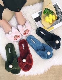 Fashion Wine Red Plush Bow And Pearl One-word Cotton Slippers
