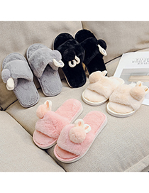 Fashion Black Bunny Word Flat Children S Plush Slippers