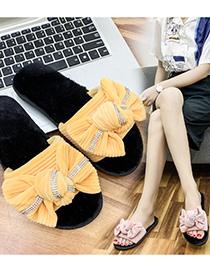 Fashion White Corduroy Bow Flat Slippers