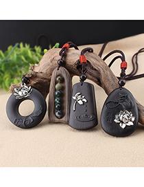 Fashion Nineteen Ebony Wood Ebony Lotus Agate Pendant Cotton Linen Buddha Necklace