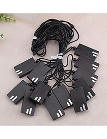 Fashion Yin Yang Ebony Wood Leather Cord Necklace Ebony Pendant Geometric Sweater Chain (single Price)