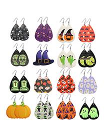Fashion Castle Halloween Faux Leather Ghost Skull Geometric Earrings