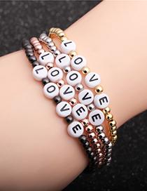Fashion Grab The Black Copper Beads 4mm Copper Beads Letter Elastic Bracelet
