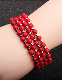 Fashion Grab Black 6mm Red Turquoise Copper Beads Beaded Elastic Bracelet