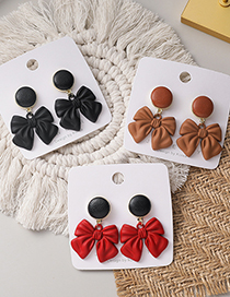 Fashion Black Leather Butterfly Combined With Gold Earrings