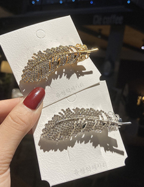 Fashion Silver Feather And Diamond Alloy Hollow Hairpin