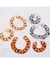 Fashion 4 Necklace Yellow Brown Leopard Print Acrylic Thick Chain Alloy Necklace Bracelet
