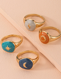 Fashion Spark Lightning Moon Flower Resin Round Alloy Ring